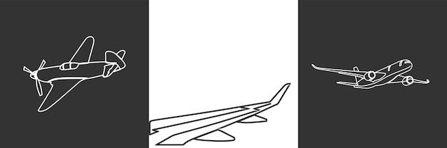 Flugzeug einzeilige kunstillustration premium-vektor