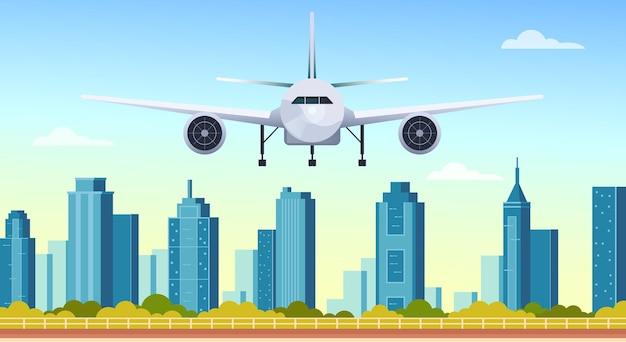 Flugzeug fliegen unter modernen stadtwolkenkratzern flaches grafikdesign-illustrationskonzept
