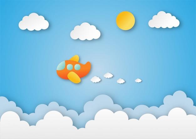 Flugzeug fliegt am himmel. papierkunst reiseillustration.