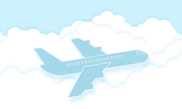 Flugzeug fliegt in den blauen himmel mit wolken, wolkengebilde, papierkunststil