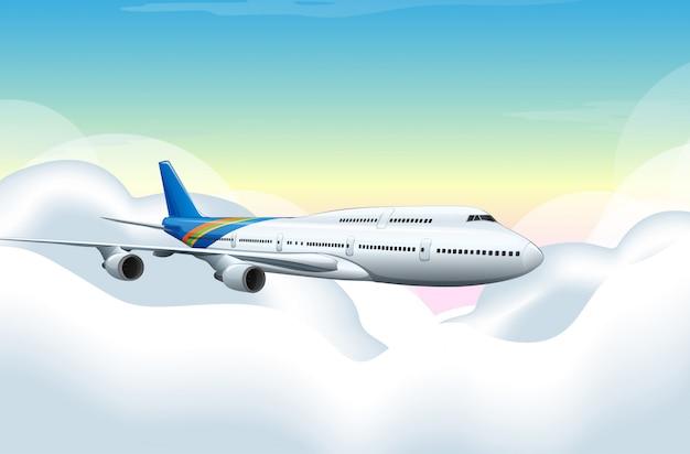 Flugzeug fliegt in den blauen himmel
