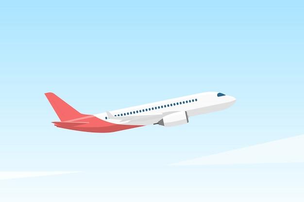 Flugzeug fliegt in den himmel