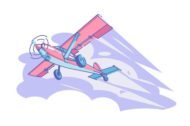 Flugzeug fliegt in himmel vektor-illustration rotes flugzeug in luft flach stil modernen lufttransport und luftfahrt konzept isoliert Premium Vektoren