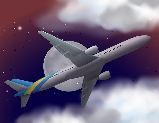 Flugzeug fliegt nachts am himmel
