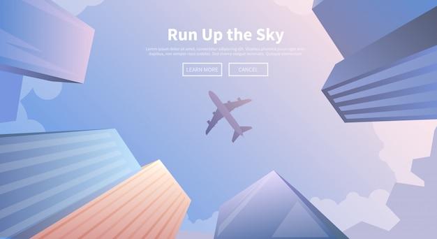 Flugzeug fliegt über geschäftswolkenkratzer.