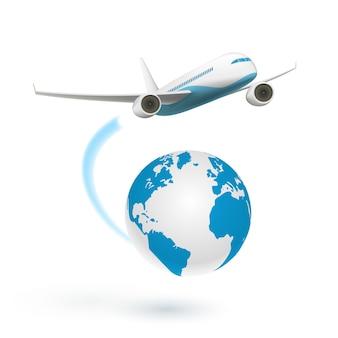 Flugzeug fliegt um den globus
