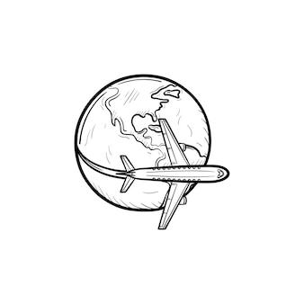 Flugzeug fliegt um die welt hand gezeichnete umriss-doodle-symbol. luftverschmutzungskonzept. flugzeug mit globusvektorskizzenillustration für print, web, mobile und infografiken isoliert auf weißem hintergrund