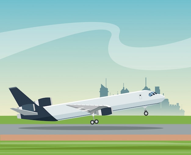 Flugzeug-flughafentransportpassagiergeschäfts-landschaftsstadt