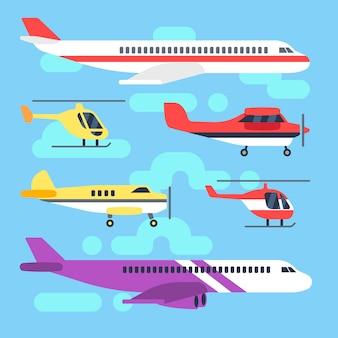 Flugzeug, flugzeug, flugzeug, hubschrauber für transport und flugreise.