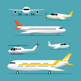 Flugzeug, flugzeug, light jet objekte flat design set