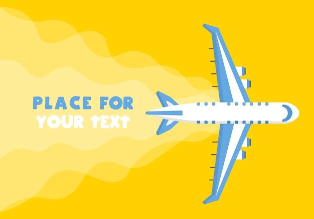 Flugzeug, flugzeuge, hubschrauber mit einem platz für ihren text im cartoon-stil. draufsicht eines fliegenden flugzeugs.