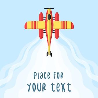 Flugzeug, flugzeuge, hubschrauber mit einem platz für ihren text im cartoon-stil. perfekt für webbanner und werbung. draufsicht eines fliegenden flugzeugs.