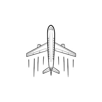 Flugzeug handsymbol gezeichneten umriss doodle. luftverkehr, flugzeugreisen, verkehrsflugzeugkonzept