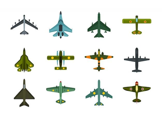 Flugzeug-icon-set. flacher satz der flugzeugvektor-ikonensammlung lokalisiert