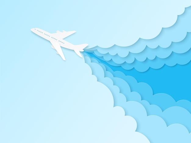 Flugzeug im blauen himmel. flugflugzeug im origami-stil, luftfahrttourismus.
