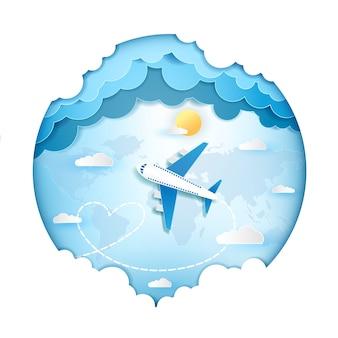 Flugzeug im himmel reisen um das weltkonzept.