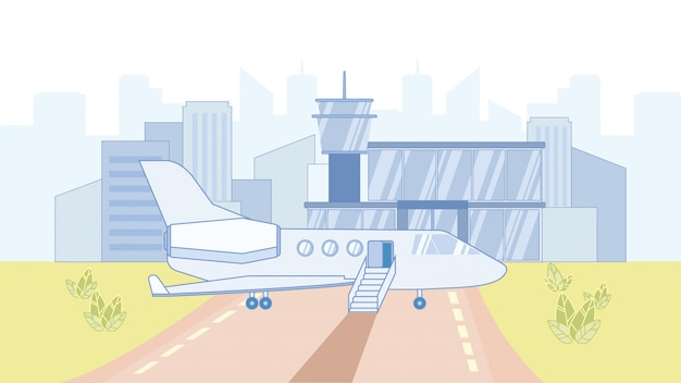 Flugzeug in der flughafen-karikatur-vektor-illustration