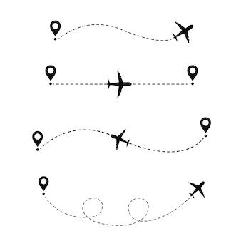 Flugzeug in der gepunkteten linie