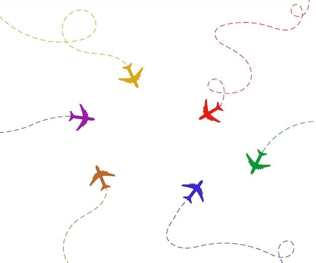 Flugzeug ist in einer gepunkteten linie. der wegpunkt ist für eine touristische reise.