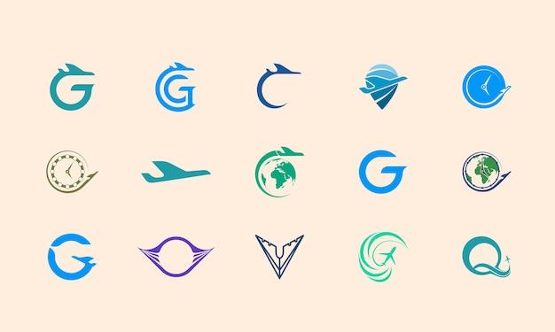 Flugzeug-logo-design, logo-vorlagenset geeignet für die identität eines reisebüros