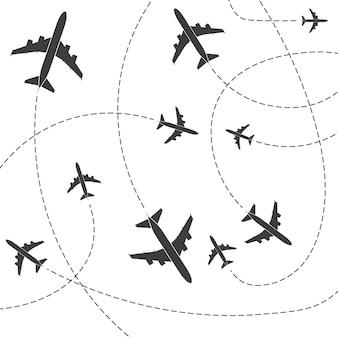 Flugzeug mit gestrichelten pfadlinien