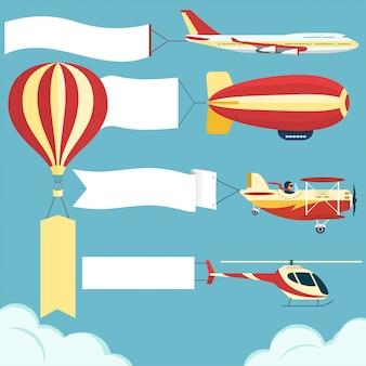 Flugzeug mit leeren brett