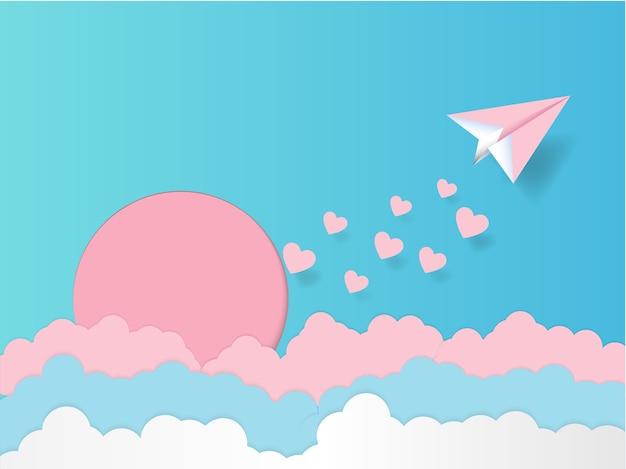 Flugzeug mit rosa herz papier kunststil und pastell himmel hintergrund