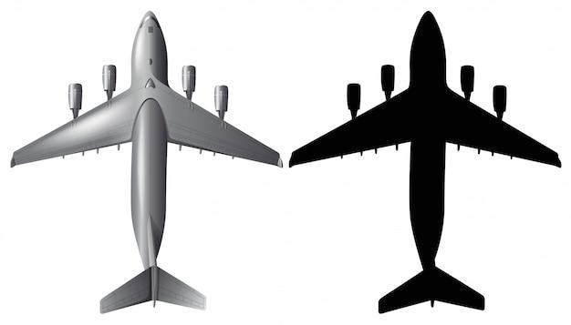 Flugzeug mit schattenbild auf weißem hintergrund