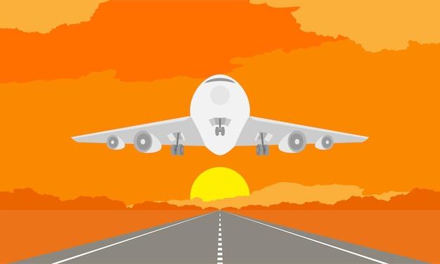 Flugzeug- oder flugzeuglandung oder start auf rollbahn im sonnenuntergang