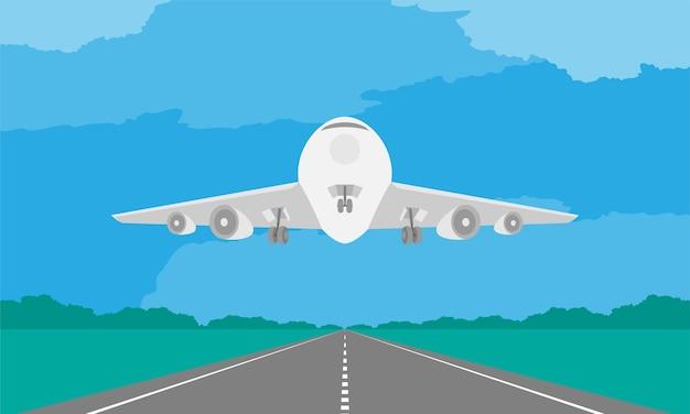 Flugzeug- oder flugzeuglandung oder start auf rollbahn in der tageszeit