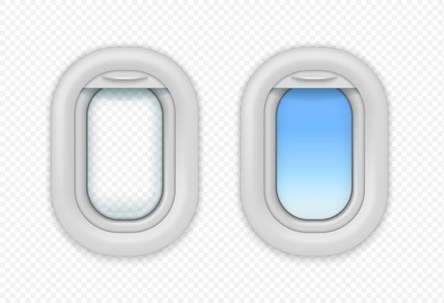Flugzeug offene fenster. realistische ansicht vom bullauge des flugzeugs mit vorhang. vektor isolierte realistische offene flugzeugbeleuchtung