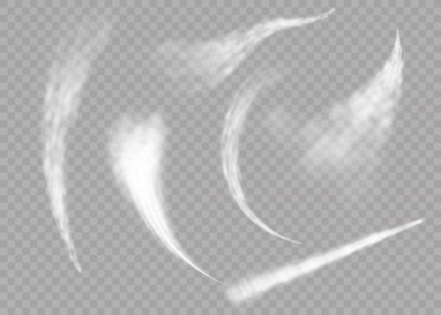 Flugzeug rauch raketenstrom effekt flugzeug jet cloud fluggeschwindigkeit platzen. flugzeugrauch lokalisiert auf transparentem hintergrund. realistische flugzeugkondensationswege.