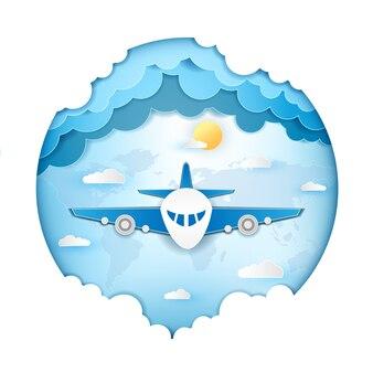 Flugzeug reisen um die welt konzept.