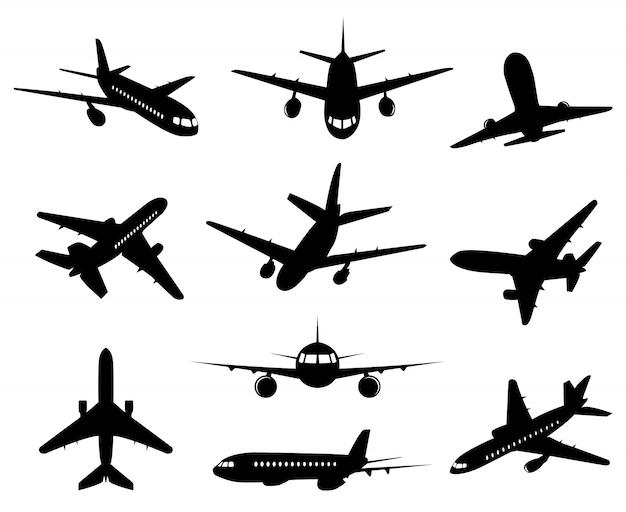 Flugzeug silhouette. passagierflugzeug, hintere vorder- und unteransichten, flugzeugjet-silhouetten-illustrationsikonen eingestellt. jet monochrom, flugzeug und flugzeug, kommerzieller passagierflug