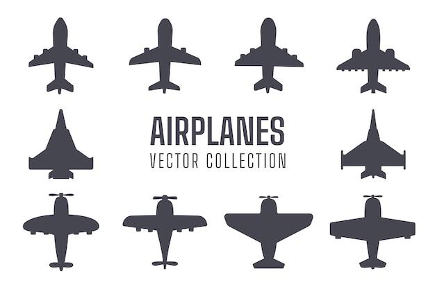 Flugzeug silhouette set einfache kampfflugzeug verkehrsflugzeug silhouette design vom hintergrund isoliert