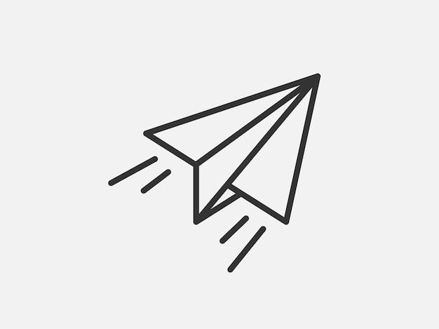 Flugzeug-spielzeug-symbol auf weißem hintergrund. linienstil-vektor-illustration.