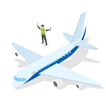 Flugzeug startet von der landebahn des flughafens