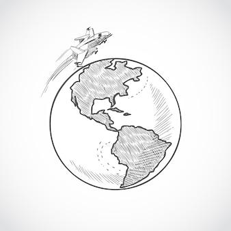 Flugzeug symbole globus