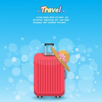 Flugzeug und gepäckzubehör reisen um die welt