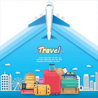 Flugzeug und gepäckzubehör reisen