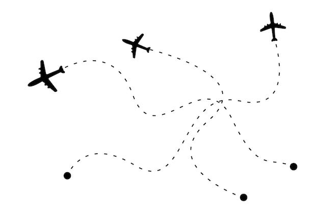 Flugzeug und seine spur auf weißem hintergrund vektor-illustration