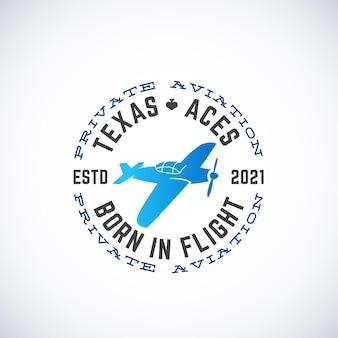 Flugzeug-vektor-retro-label-zeichen oder logo-vorlage vintage-flugzeug-silhouette mit kreistypografie ist...