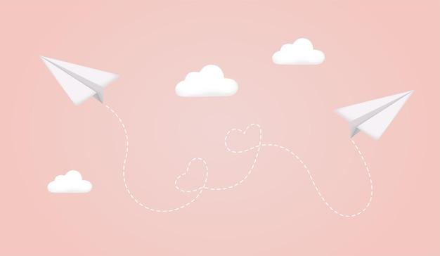 Flugzeug weißes papierflugzeug mit schatten am himmel flugzeug auf blauem hintergrund papierflugzeug
