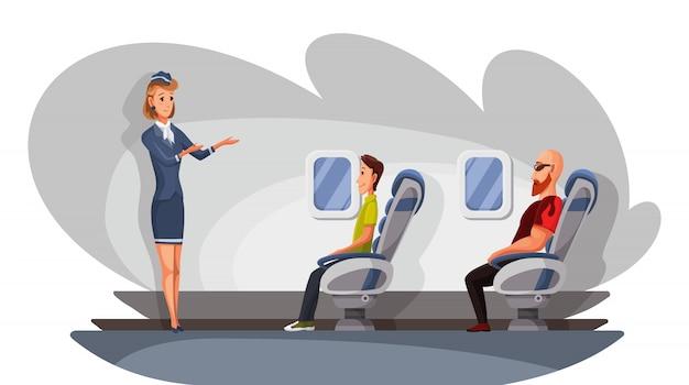 Flugzeugbesatzung und passagiercharaktere im flugzeug. flugtransportdienst. die stewardess gibt glücklichen menschen anweisungen, die auf stühlen in der business class von flugzeugen sitzen