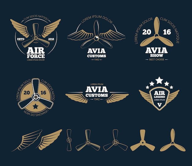 Flugzeugdesignelemente und logos. flugzeugpropeller, emblem oder abzeichen, stempelflug, vektorillustration