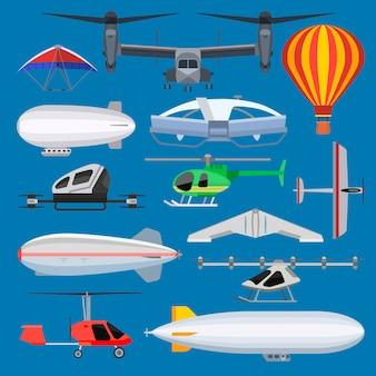 Flugzeugdrohnenstrahl und luftschiffhubschrauber- und flugzeugflugtransport in himmelillustrations-luftfahrtsatz des flugzeugquadrocopters und des hubschraubers lokalisiert auf hintergrund