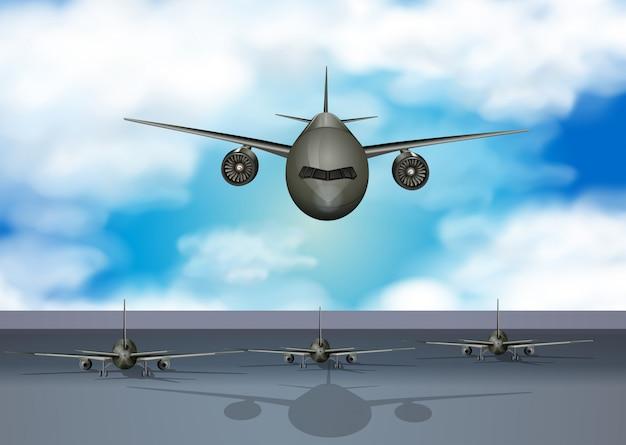 Flugzeuge, die auf rollbahn landen