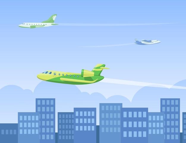 Flugzeuge, die in der luft über der flachen illustration der stadt fliegen