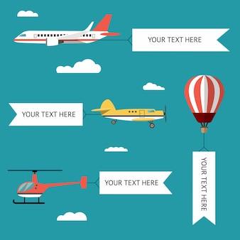 Flugzeuge, flugzeuge, hubschrauber, doppeldecker und heißluftballon.