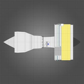 Flugzeuge mit turbostrahltriebwerk. vektorlinie abbildung.